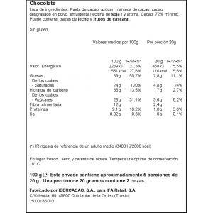 Chocolate negro 72% ifa eliges  100g