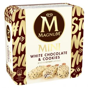 Helado mini chocolate  blanco y cookies magnum p6x55ml