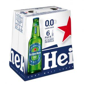 Cerveza sin alcohol 0,0% heineken botella p6x25cl