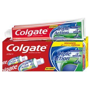 Pasta dentífrica triple action menta original 2 tubos colgate de 75 ml