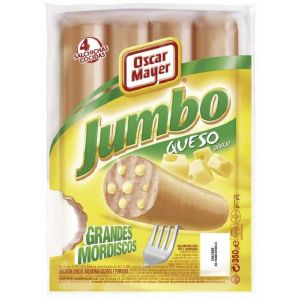 Salchichas jumbo con queso oscar mayer 4u 350g