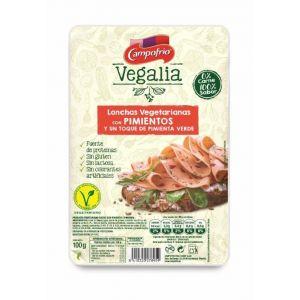 Lonchas vegetariana pimientos y un toque de pimienta verde vegalia 100 gr