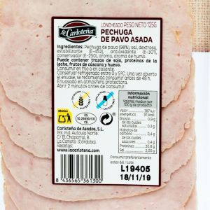 Pechuga pavo asada carloteña lonchas 125gr