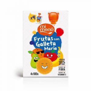 Pouch de fruta y galleta dulcesol pack de 4 unidades de 100g