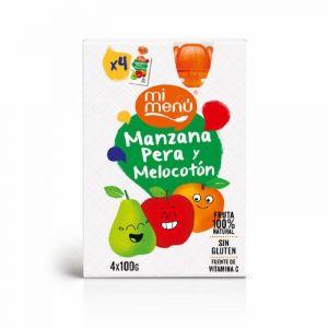 Pouch de manzana, para y melocotón dulcesol pack de 4 unidades de 100g