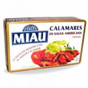 Calamares trozo sin salsa americana miau ol120 72gr neto