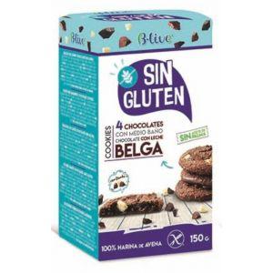 Galleta cookie sin gluten 4 chocolates  blive 150gr