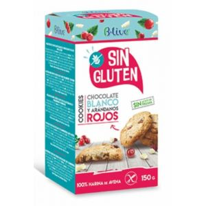Galleta cookie sin gluten  chocolate  blanco y  arandanos  blive 150gr