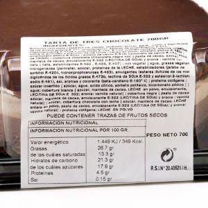 Tarta 3 chocolates zampabollos 700g