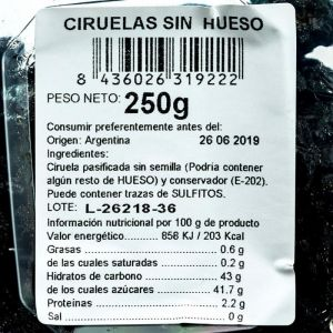 Ciruelas sin hueso san blas 250g
