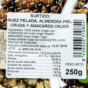 Surtido fritos nuez/almendra/anacardo san blas
