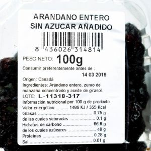 Arandanos sin azucar san blas 100g