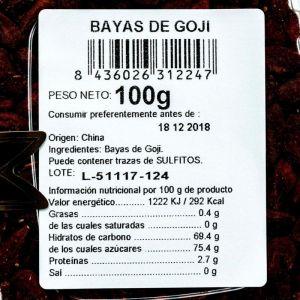 Bayas de goji san blas bandeja 100gr