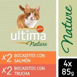 Comida gato nature esterilizado salmón ultima p-4x85gr