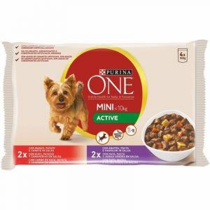 Comida perro buey pato en salsa one mini active p4x100g