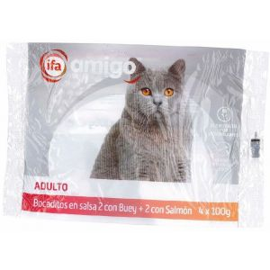 Comida gato bocaditos en salsa ifa amigo p4x100g