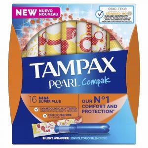 Tampon super compak pearl tampax 16und