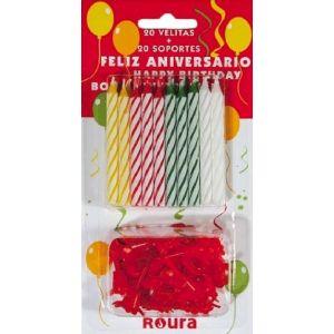 Vela surtidas cumpleaños  roura 20ud
