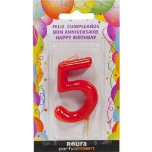 Vela cumpleaños nº 5 roja roura