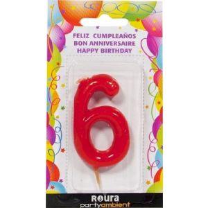 Vela cumpleaños nº 6 roja roura