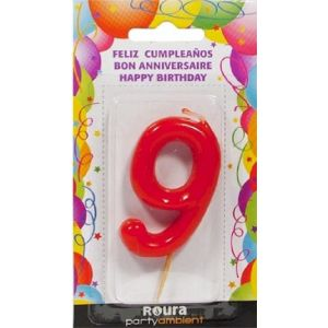 Vela cumpleaños nº 9 roja roura