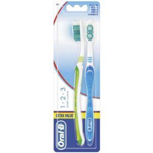 Cepillo de dientes 123 shiny clean medio 2 uds oral-b
