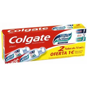 Pasta dentífrica triple action menta original 2 tubos colgate de 75 ml