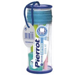 Mini kit dental express con pasta de dientes + cepillo de dientes +  seda dental pierrot