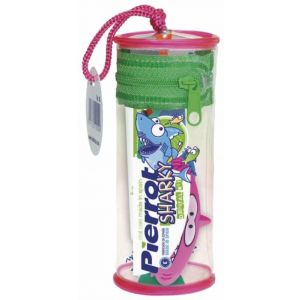 Mini kit dental infantil sharky con cepillo de dientes + pasta de dientes de fresa y llavero pierrot