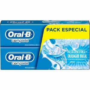 Pasta dentífrica + enjuague bucal complete limpieza refrescante 2 x 75 ml oral-b