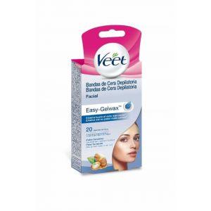 Bandas de cera depilatorias faciales para piel sensible veet 20 uds