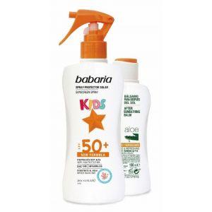 Pack bronceador ( 200ml) + aftersun ( 100ml) infantil f50 babaria spray  300ml