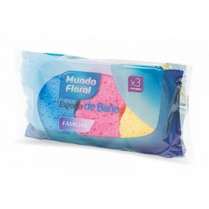 Esponja de baño mudo floral pack de 3 unidades