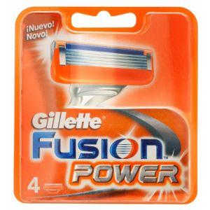 Recambio para maquinilla de afeitar fusion power gillette 4 uds