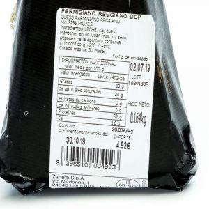 Queso parmigiano reggiano zanetti curacion 30 meses cuña 150g aprox