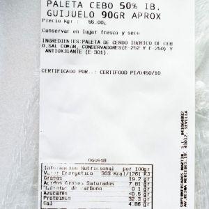 Jamon cebo 50% iberico  taquito  guijuelo 10gr aprox