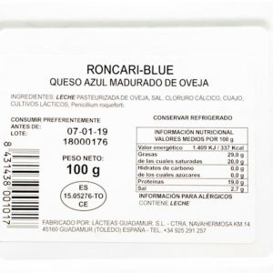 Queso roncari-blue tgt cuña 100g