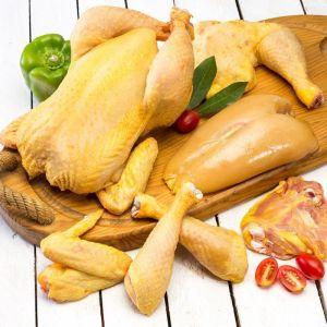 Muslos de pollo amarillo