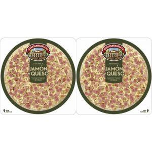 Pizza fresca de jamón y queso casa tarradellas pack de 2 unidades de 225g