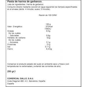 Pasta fideo garbanzo gallo nature 250gr