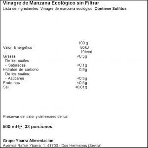 Vinagre manzana eco madre ybarra 500ml