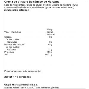Crema balsamica manzana ybarra pet 280ml
