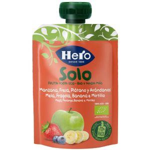 Pouch eco manzana fresa platano solo  hero 100g