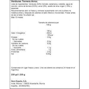 Tarrito trocitos verdura ternera arroz hero 235g