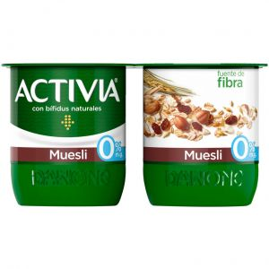 Yogur muesli 0%  activia p-4x120g