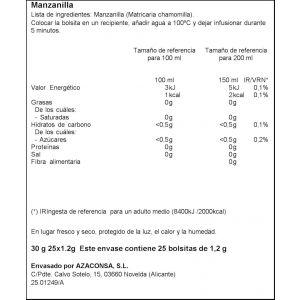 Infusion manzanilla ifa eliges 25 sobres