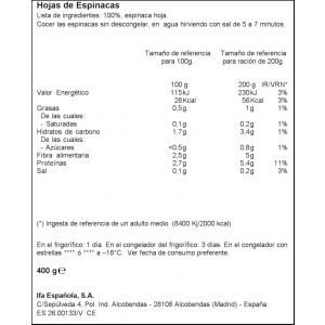 Espinacas cortada  ifa eliges 400g