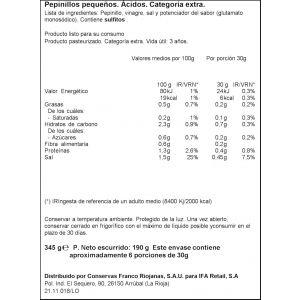 Pepinillos sabor anchoa ifa eliges tarro 345gr (190gr escurrido)