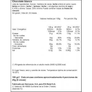 Chocolate blanco extrafino  ifa eliges  75g