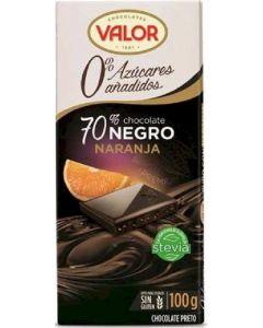 Chocolate sin azucar 70% naranja valor  100g